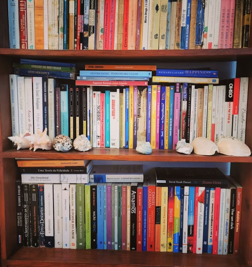 Book shelf with many different authors of all times